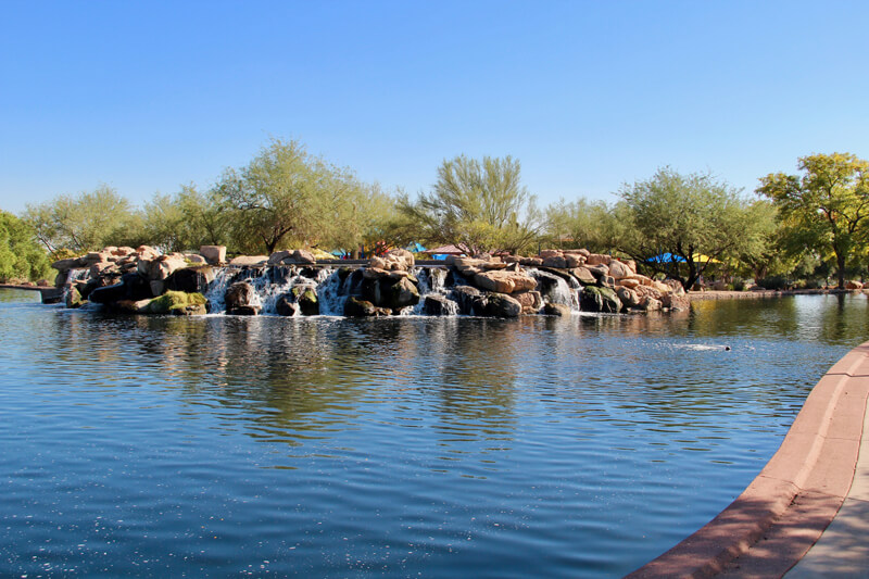 Catch and release pond and waterfall at Anthem Parkside Community Park in